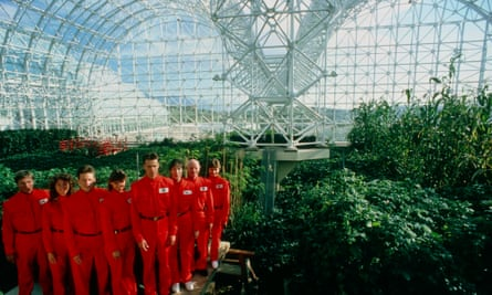 The 'biospherians' during the construction of the Biosphere 2 project