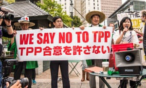 Japanese protesters oppose Trans-Pacific Partnership trade talks in Atlanta, USA