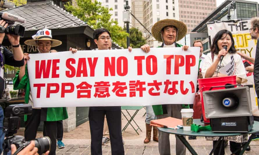 Japanese protesters oppose Trans-Pacific Partnership trade talks in Atlanta, USA