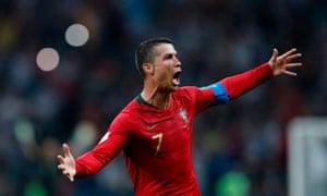 Ronaldo celebrates scoring his hat-trick.