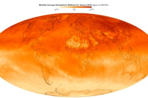 A satellite view of methane concentrations in Earth's atmosphere in January 2016