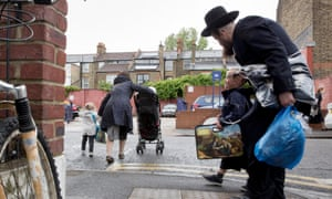 The school run near Beis Malka school in North London on a rainy Friday in May. Beis Malka is one of two Ultra-Orthodox Jewish sect schools to advise mothers to stop driving
