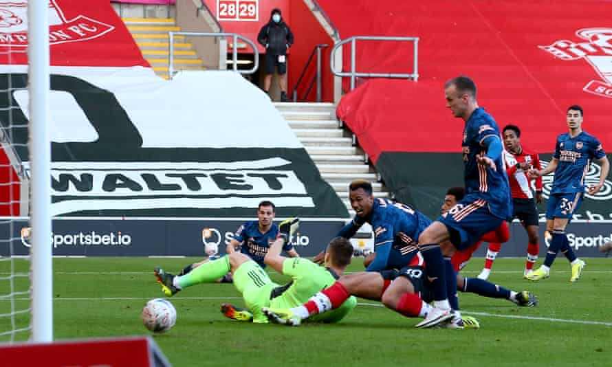 Gabriel looks aghast as he deflects a shot by Kyle Walker-Peters of Southampton into the Arsenal net