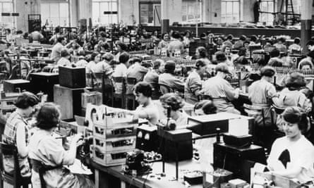 The component assembly room at Ferranti's radio works, Moston, Merseyside, in 1935.
