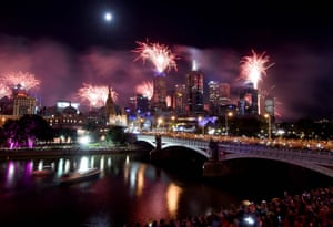 New Year 2018 celebrations along the Yarra river in Melbourne