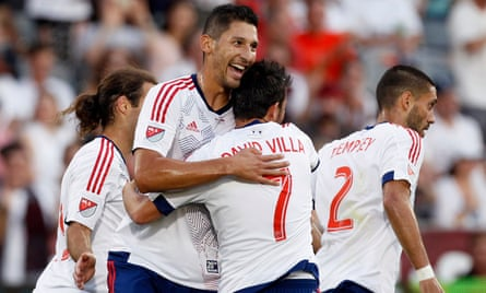 Omar Gonzalez celebrates with David Villa after the Spaniard's goal in the all-star game.