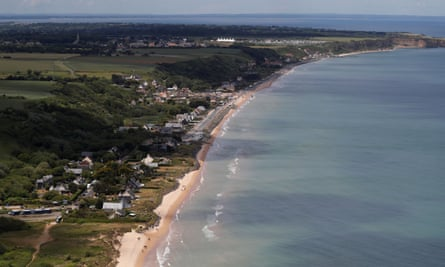 Aerial view of Omaha beach, Normandy.