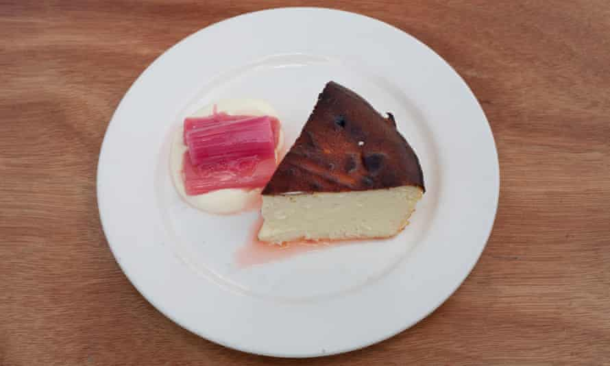 'Cheesecake is the ideal sweet-soft foil for the pink, glossy sour-sweet rhubarb': cheesecake with rhubarb.