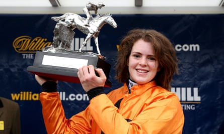 Lizzie Kelly celebrates winning the Kauto Star Novice Chase on Tea For Two at Kempton Park.
