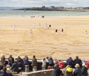 Cricket on the beach at the Ship Inn, Elie.