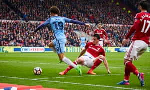 Leroy Sané causes problems for the Middlesbrough defence.
