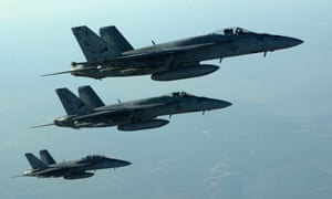 US Navy F-18E Super Hornets, which have been used to bomb Isis targets in Syria