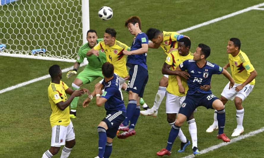 Yuya Osako scores Japan's winner against Colombia in their opening World Cup match.