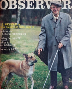 PG Wodehouse on dogs – 9 March 1975. Original photo by Elliot Erwitt (Magnum). Permission granted to reproduce cover. Archive Observer covers, OM, London, 17/05/2019. Sophia Evans for The Observer
