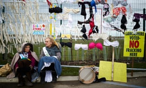 Anti-fracking protesters in Lancashire.