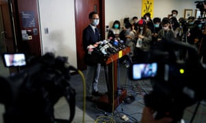 Pan-democratic legislator Dennis Kwok Wing-hang speaks to the media after holding the Legislative Council's House Committee meeting, in Hong Kong, on 24 April.