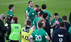 Ireland's CJ Stander is visibly emotional after playing in his last international match.
