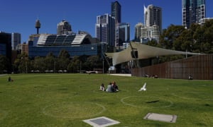 Social distancing circles at a city park on Wednesday in Sydney, which remains under lockdown.