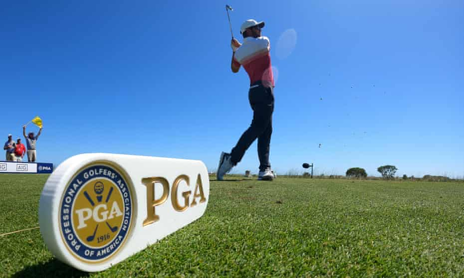 Corey Conners, the world No 39, plays his shot from the eighth tee during the first round.