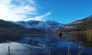 Chilled out … Vivienne Rickman-Poole swimming at Llyn Teyrn in Snowdonia