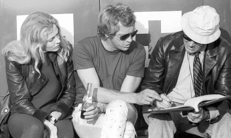 McQueen, centre, during the filming of Le Mans.