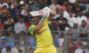 Australia's captain Aaron Finch bats during their run chase.