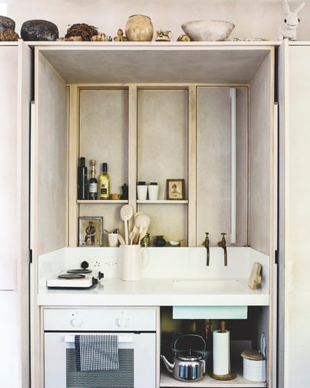 The boxed-in kitchen.