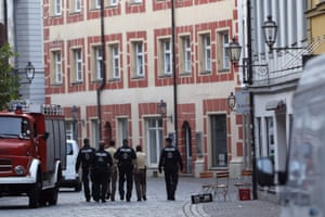 Police patrol the old part of Ansbach on Monday