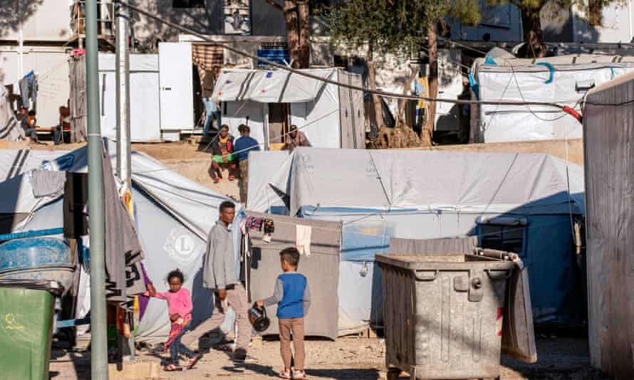 The official Moria refugee camp on Lesbos, Greece