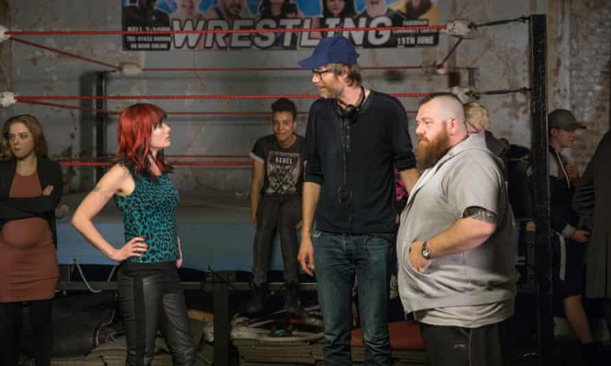 Hello, grappling fans: on the set of Fighting With My Family with (from left) actor Lena Headey and director Stephen Merchant.
