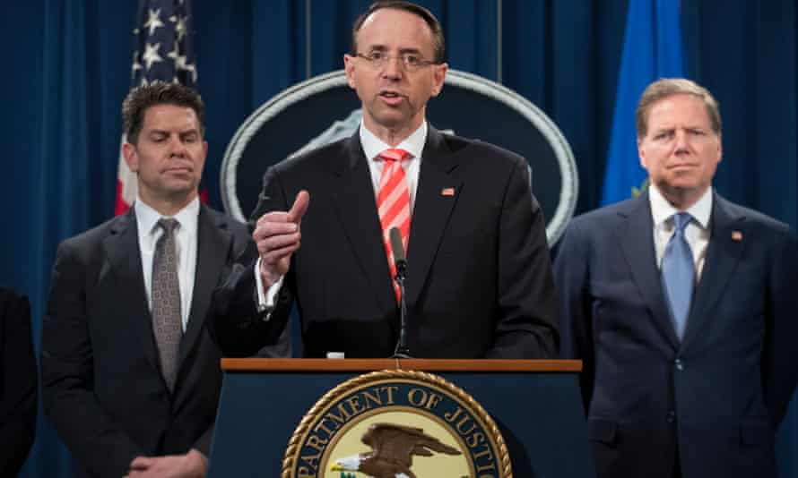 Deputy Attorney General Rod Rosenstein during a news conference announcing criminal charges and sanctions against nine Iranians at the Justice Department Friday.