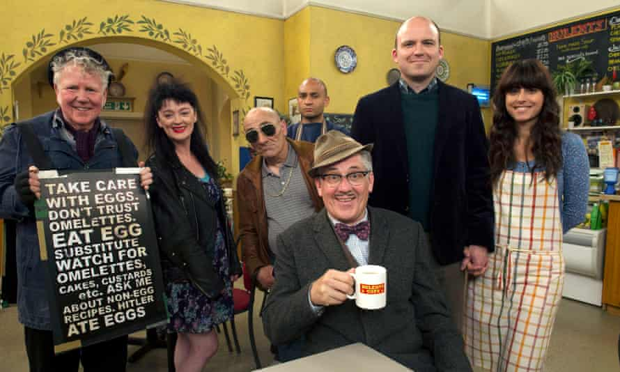 Chaos … (from left) Dave Plimmer, Bronagh Gallagher, Andy Linden, Chris Ryman, Steve Delaney as Count Arthur Strong (seated), Rory Kinnear and Zahra Ahmadi.