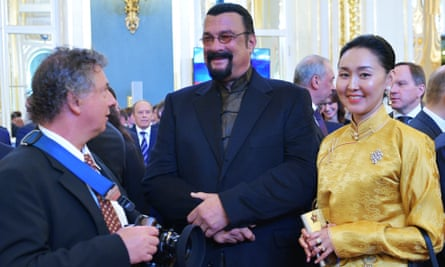 The actor Steven Seagal and his wife Erdenetuya arrive at the inauguration.