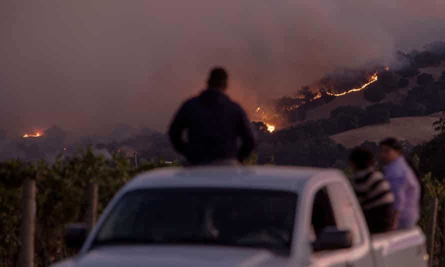 Vineyard workers watch the Kincade fire burning in the hills above Geyserville, California, 24 October 2019.