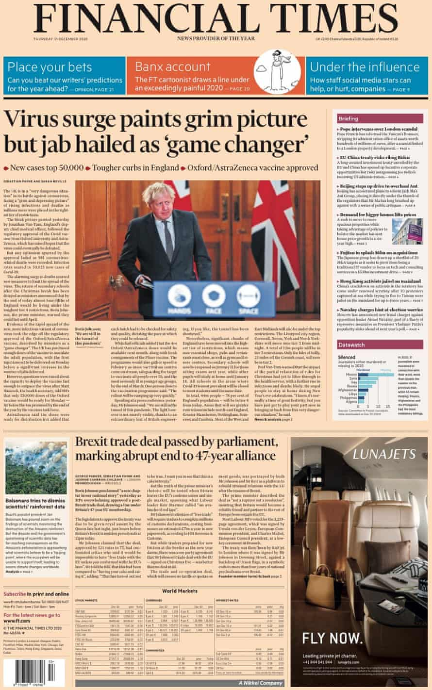 FT front page new year's eve