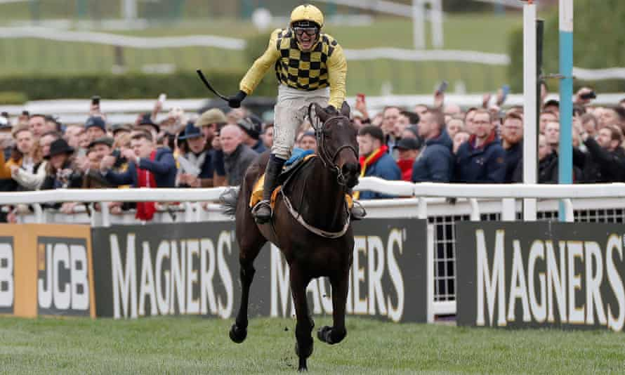Paul Townend celebrates his victory in the Cheltenham Gold Cup on Al Boum Photo.