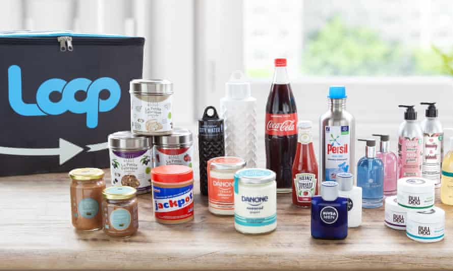 A Loop delivery container and some of the brands on sale