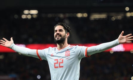 Spain's Isco celebrates after scoring his third and the team's sixth goal in the 6-1 friendly win over Argentina at Wanda Metropolitano.