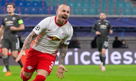 Angeliño screams in delight after setting Leipzig on the path to victory.