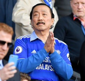 Cardiff City owner Vincent Tan looks on from the stands.