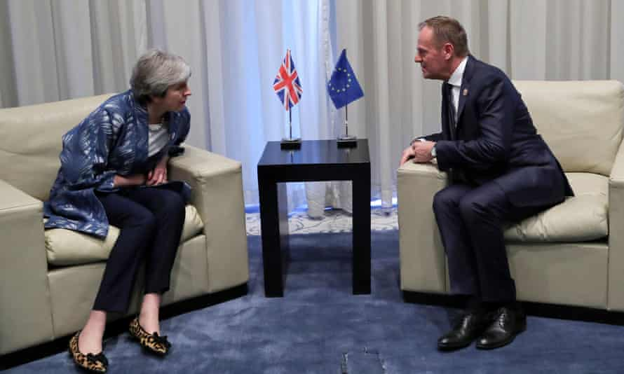 Britain's PM May talks with EU Council President Tusk in the Red Sea resort of Sharm el-SheikhBritain's Prime Minister Theresa May talks with European Council President Donald Tusk during a summit between Arab League and European Union member states, in the Red Sea resort of Sharm el-Sheikh, Egypt, February 24, 2019. Francisco Seco/Pool via REUTERS