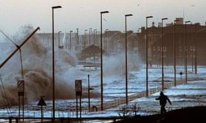 Waves crash over coastal roads near Blackpool