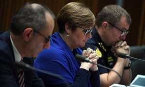 Mike Pezzullo (left) told Senate estimates nothing had come to Australian security agencies' attention about the man accused of the Christchurch massacre