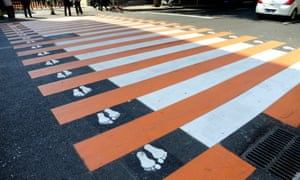 A zebra crossing decorated with little feet in Shenyang