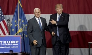 Donald Trump greets the then Indiana governor, Mike Pence, in July 2016.