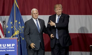 Republican presidential candidate Donald Trump greets Indiana governor Mike Pence at a rally in Westfield