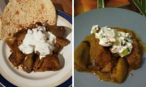 Two spiced aubergine dishes