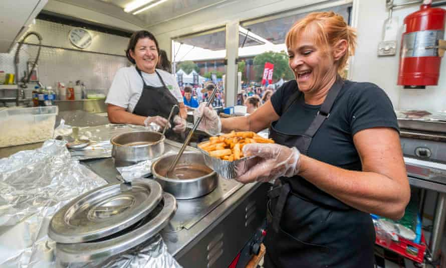 Staff of Mr Mechoui serve up poutine for customers