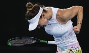 Simona Halep celebrates after winning match point against Jennifer Brady.