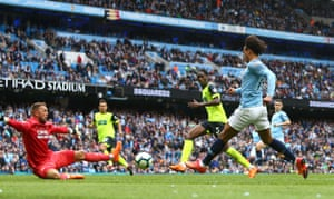 Sane shoots past Hamer which rebound off the keeper, ont Kongolo and in for City's sixth.